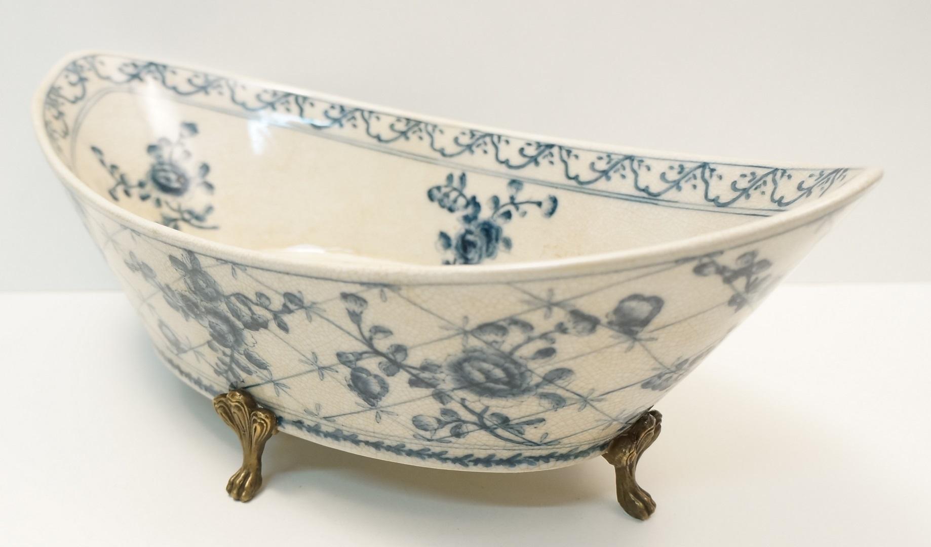 Centre de table fruitier fleurs style art deco porcelaine - Porcelaine de table ...